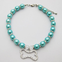 Pet Cat Dog necklace pet Faux pearl necklace diamond the bon...