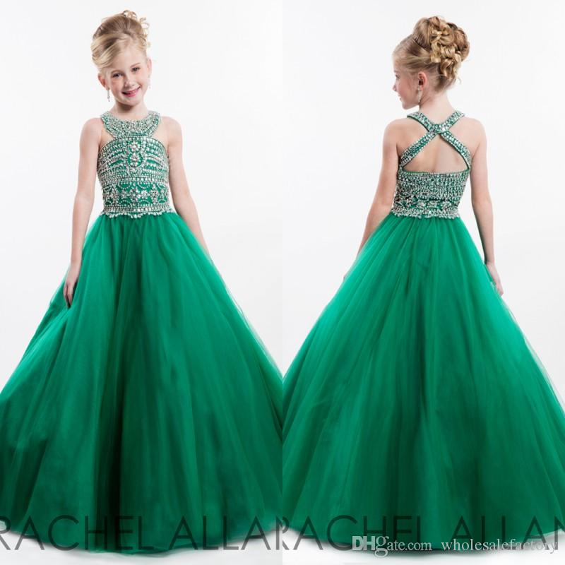 2017 Green Girls Pageant Dresses Princess Beaded Top Jewel Neck Backless Long Girls Formal Wears Flower Girl Party Celebrity Dresses