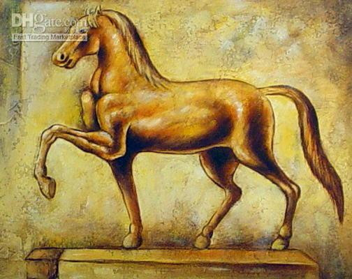 art repro - GOLDEN STALLION STATUE OIL PAINTING REPRO ANIMAL HORSE High Quality Hand Painted Art oil Painting On Canvas in different measurements versio
