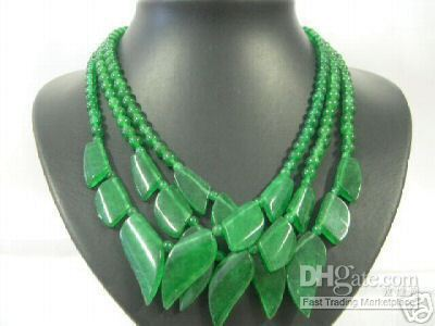 Wholesale 3Pcs Asian Jewelry Charming Green Jade Leaf Necklace Health necklace