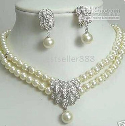 Wholesale cheap Dazzling Freshwater Silver Pearl Necklace earring Set