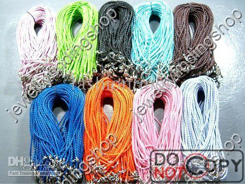 Wholesale Fast strings leather knitted strings with connector for necklace
