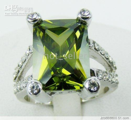 With Side Stones 14kt gold jewelry - Women s Luxury Jewelry Oblong Nature Peridot White Gemstone Jade KT White Gold GP Ring