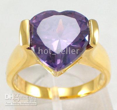 Women's amethyst nature gemstone - New Women s Luxury Jewelry Nature Amethyst Gemstone Jade KT Yellow Gold GP Wedding Ring