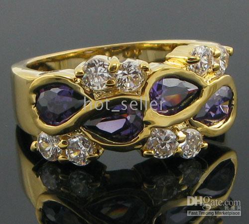 Wholesale New Elegant Women Gift Luxury Jewelry Evening Tanzanite White gemstone KT Yellow Gold GP Band Ring