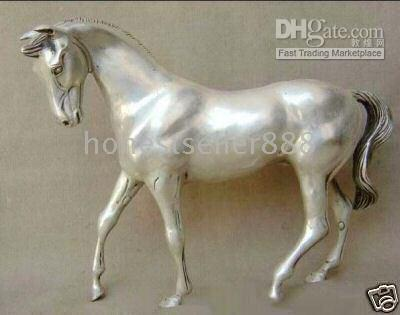 horse statue - EXCELLENT CHINESE SILVER HORSE STATUE