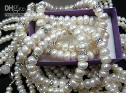 Wholesale New Elegant Womens Jewelry Evening Party Smart White Freshwater Pearl Beads gemstone Chain Bracelet