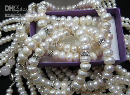 beaded gemstone bracelets - New Elegant Womens Jewelry Evening Party Smart White Freshwater Pearl Beads gemstone Chain Bracelet