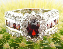 Wholesale Elegant Women s Gift Jewelry Generous KT GP White Clear Red Ruby Cut gemstone Gem Ring Size P