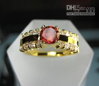 adorable rings - New Lady s Adorable Jewelry White Ruby Round gemstone KT Yellow GP Wedding Anniversary Band Ring