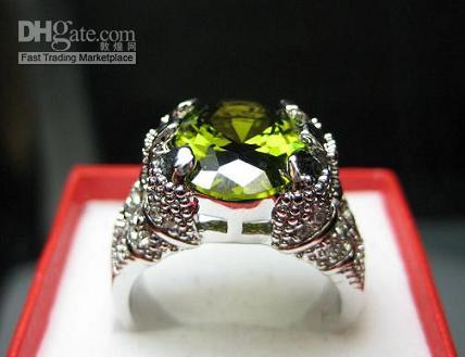 Wholesale Handsome Men s Jewelry With Saffron Oval Clear gemstone Fine KT GP White Heavy Fat Gem Ring New