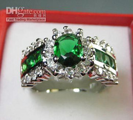 Wholesale Women Luxury Jewelry Gorgeous Emerald White Gemstone Jade KT White Gold GP Wedding Ring