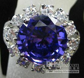 alexandrite stone rings - Fashion New Lady s Alexandrite Purple Color Clear Round gemstone KT GP White Gold Gemstone Ring