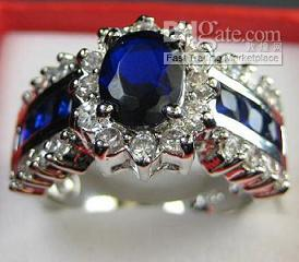 Wholesale Women s Jewelry With Sapphire gemstone KT White Gold filled Gem Ring New Fashion Design Size R