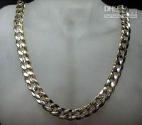 Wholesale Estate Men Jewelry Cuba Heavy Link Chain Necklace KT Yellow Gold amp White Gold GP