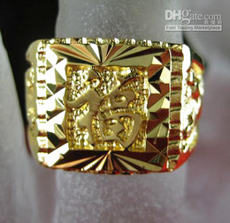 Wholesale Drop Ship Estate Men Fashion Jewelry Baroque Vintage Luxury Style KT Yellow Gold GP Ring