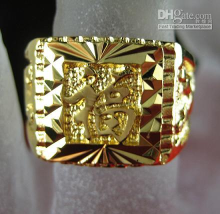 Band Rings baroque ring - Drop Ship Estate Men Fashion Jewelry Baroque Vintage Luxury Style KT Yellow Gold GP Ring