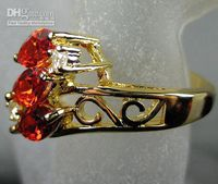 Wholesale Power Seller Fashion Jewelry Ruby White gemstone KT Yellow Gold Plated Gemstone Ring