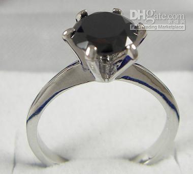 Wholesale gorgeous jewelry Pretty womens Fashion Jewelry ct Black gemstone KT White GP Ring rings