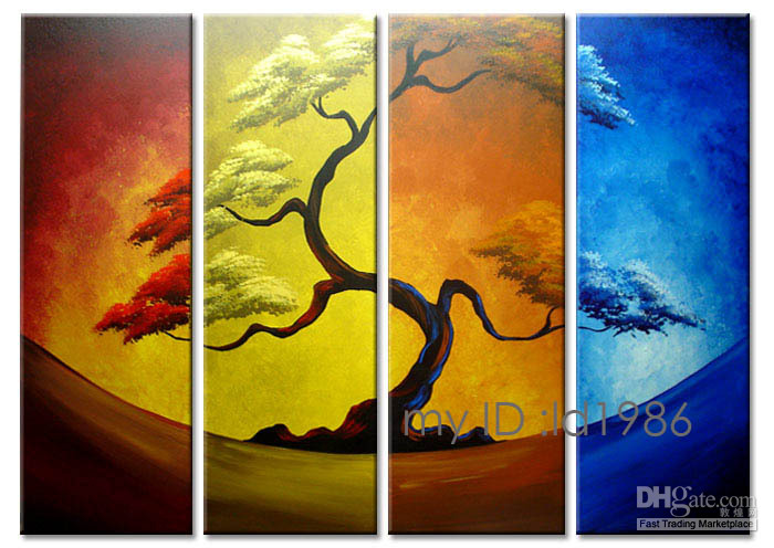 Wholesale 4ps Handpainted Modern huge wall decor Abstract Tree art oil painting on High quality canvas in different measurements versions