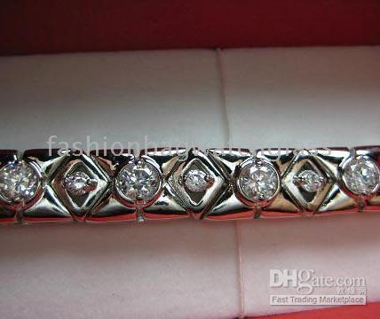 Wholesale New Gorgeous Radiant White Gem Diamond Heavy KT White Gold filled Tennis Bracelet