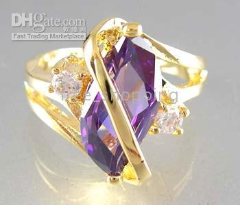 Mexican alexandrite gem stone - Low Price Fashion Luxury Jewelry KT Yellow Gold GP Alexandrite gemstone Purple Gem Ring