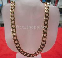 Wholesale Men s heavy necklace Gift Jewelry KT GP Yellow Gold Top Flat Chain Link Heavy mens necklace chains