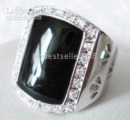 sterling silver crystal black jade Men's Rings SZ:8,9,10,