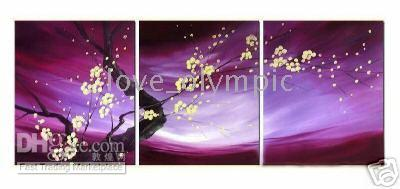 3pc abstract floral art - Framed PC WALL DECOR OIL oil PAINTING PURE HAND PAINTED ON HIGH QUALITY CANVAS art Oil Painting Multi sizes