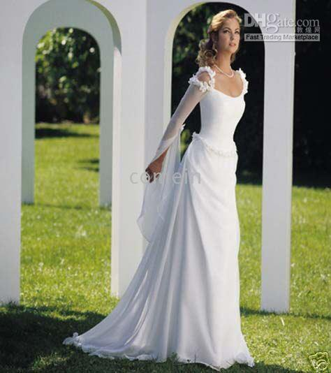 Discount sexy style white aline long sleeve chiffon for Celtic wedding dresses for sale