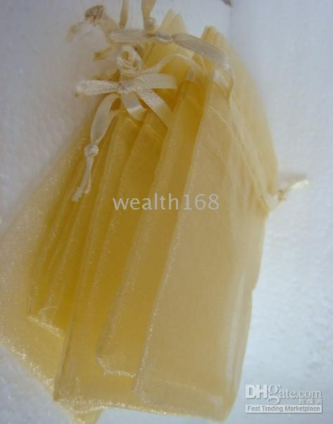 Wholesale free shiping voile Wedding Gift Favor light yellow Bags x90 mm New