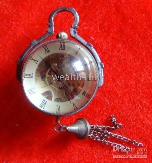 Wholesale free shiping brass crystal mechanical ball watch clock work well