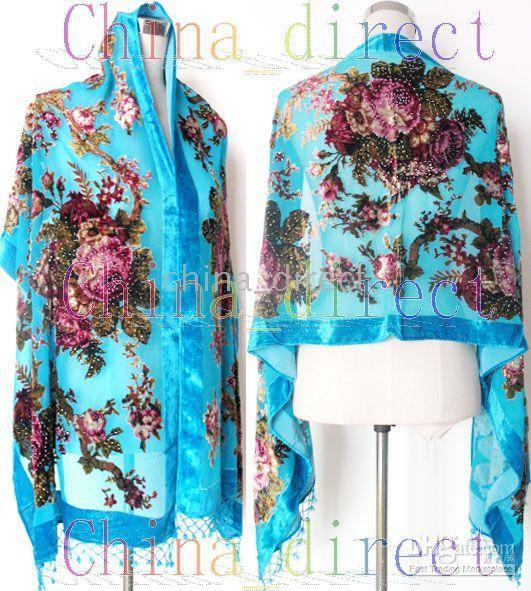 beaded scarfs - Beaded Silk Velvet Burn Out Duster Opera Coat Shawl Scarf Wrap Ponchos