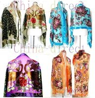 Wholesale Beaded Silk Velvet Shawl Scarf Wrap Ponchos Burn Out Duster Opera Coat