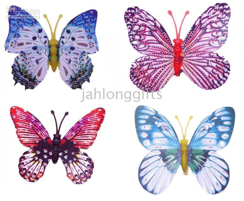 Wholesale Cute x3cm Mini Butterfly Fridge Magnet Refrigerator magnets Home Decor Mixed Color Free Ship