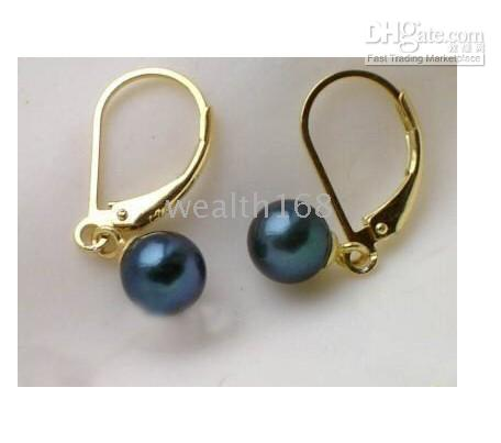 Wholesale NATURAL TAHITIAN AAA BLACK PEARL EARRING K GOLD