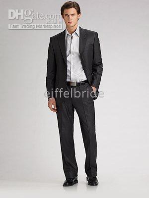 Wholesale Brand New boss suits men tuxedo Chintz Stripe Suit Wool black Suit western style