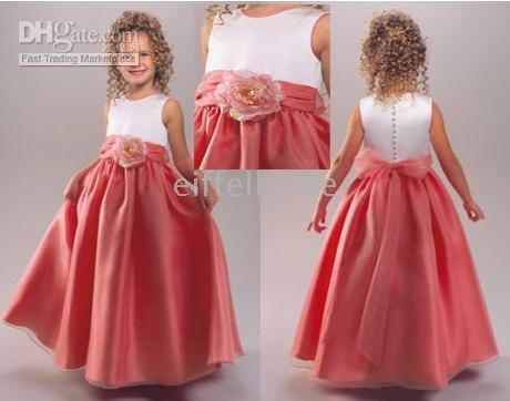 Cheap Coral Flower Girl Dresses Satin  Free Shipping Coral Flower ...