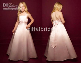 Wholesale Pretty duchess satin thick halter straps empire waist flower girl dresses girl s dress