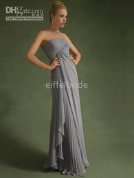 Wholesale Custom made sexy strapless ruched metalic ash chiffon mother of the bride dress prom dresses
