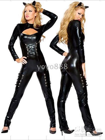 Zentai / Catsuit Costumes beauty overalls - Sexy Lingerie COSTUME Adult PVC Overall Catsuit Jumpsuit Club Wear AM Black Size S M L XL