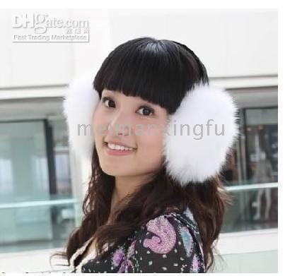 Wholesale new real quality fox fur black Ear muff