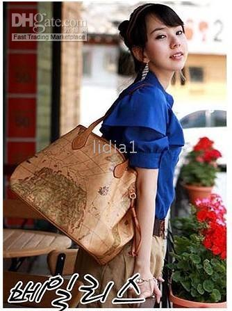 Wholesale Brand New World Map Multi way Style Handbag bag Shoulder purse