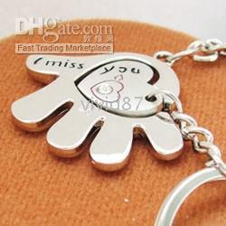 Wholesale Fashion I Miss You Romantic Love heart And Hand Finger Key Chain For Couple Keychain