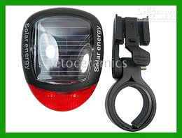 New Solar Power Bike Bicycle LED Tail Rear Light Lamp lights lamps Lots100