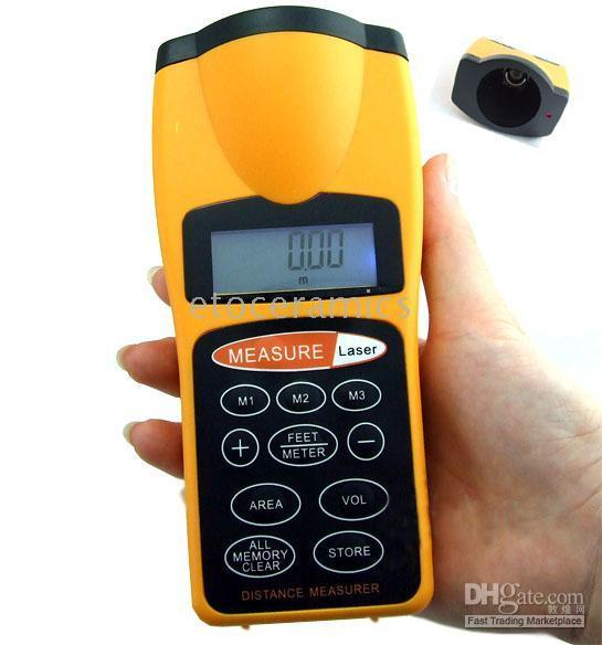 Wholesale Ultrasonic Distance Measure Measurer with Laser Pointer New LCD ultrasonic Pointer Laser Rangefinders Distance Measur