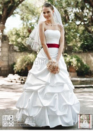 Wholesale 2010 DB Color Accented Bridal Gowns new style Ball Gown Red ribbon Wedding Dresses for jobridal