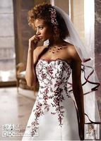 Wholesale 2010 DB T8763R Style Bridal Gowns lace Strapless satin embroidery Wedding Dresses jobridal