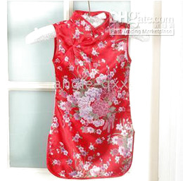 baby dress girls' dresses baby dresses Chinese silk QIPAO sleeveless girls' dress girl skirt