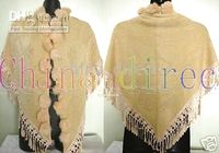 Wholesale New Rabbit fur ball fringed Scarves ponchos scarf shawl wraps shawls new